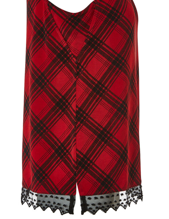 Red Plaid Lace Hem Top, Red, hi-res