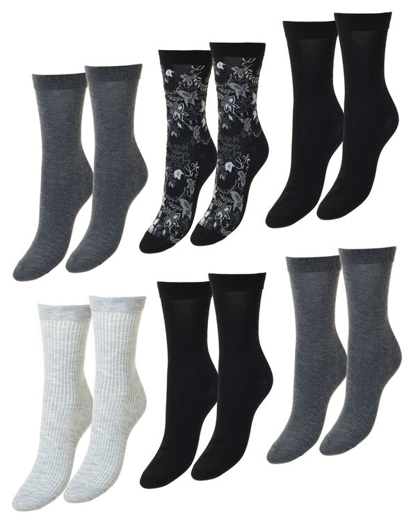 Black and Grey Floral Crew Socks, Grey, hi-res