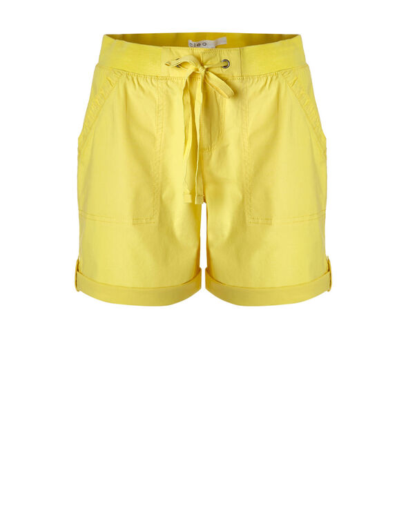 Lemon Cotton Poplin Short, Lemon, hi-res