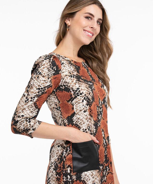 Vegan Leather Pocket Tunic Top, Rust/Black Snake Print