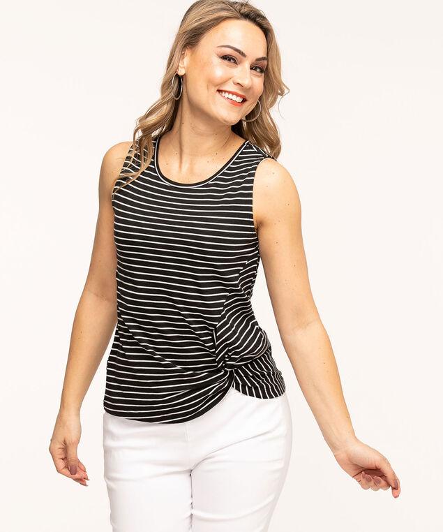 Sleeveless Scoop Neck Twist Hem Tee, Black/White Stripe