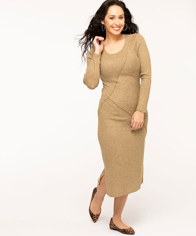 Camel Rib Knit Midi Dress, Camel Mix