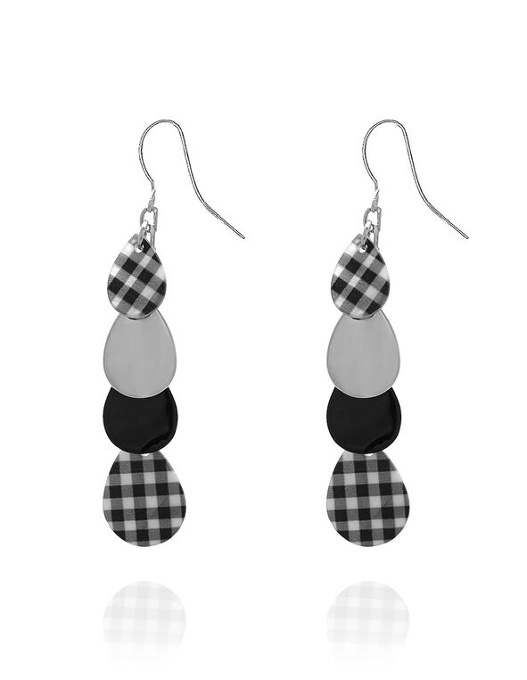 Black Gingham Earring, Black, hi-res