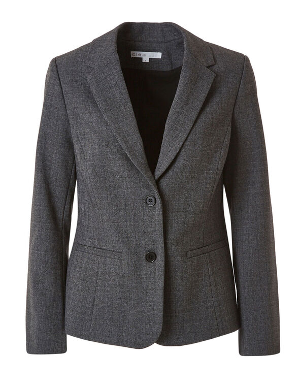 Grey Structured Blazer, Grey, hi-res