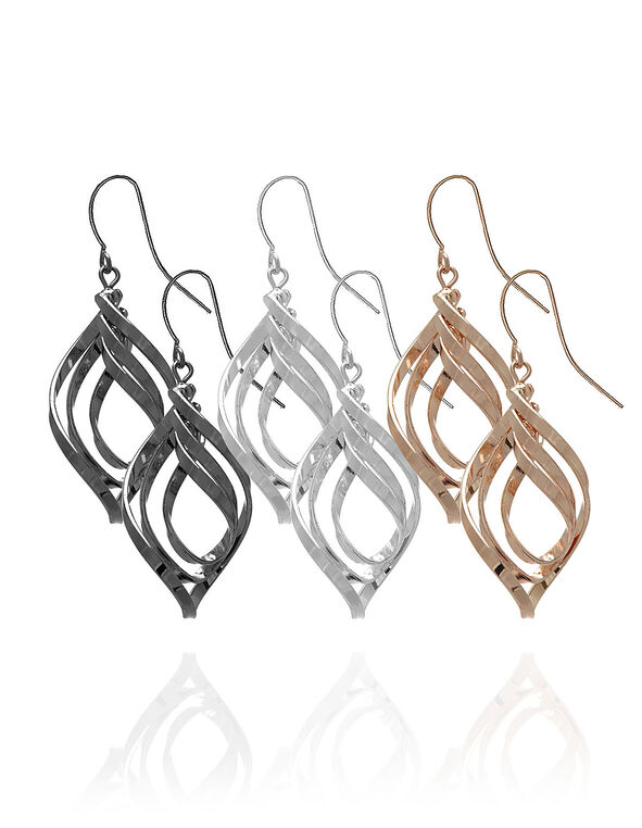 Spiral Earring Trio Set, Rose Gold/Silver/Hematite, hi-res