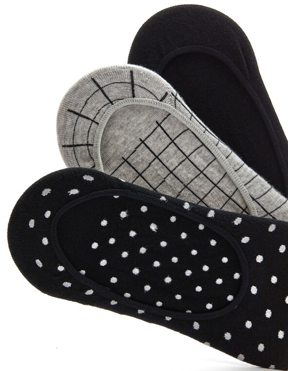 Patterned 3-Pack Sockettes, Black/Grey, hi-res
