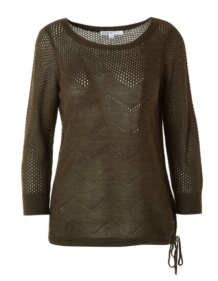 Loden Drawstring Pullover Sweater, Loden, hi-res