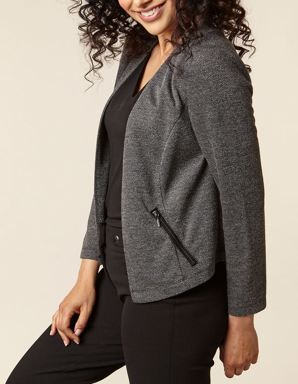 Black Patterned Zip Pocket Blazer, Black, hi-res