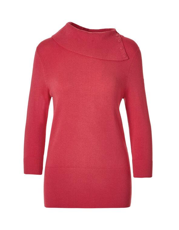 Fresh Pink Split Neck Pullover, Fresh Pink, hi-res
