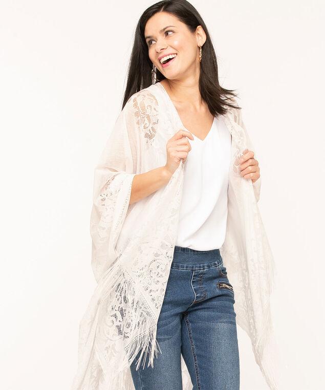 White Lace Fringe Kimono, White