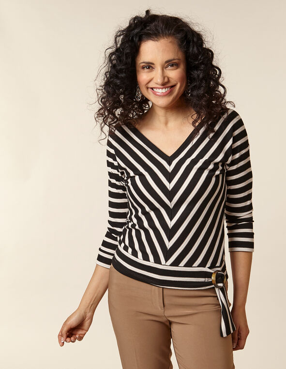 Black Striped Patterned V-Back Top, Black, hi-res