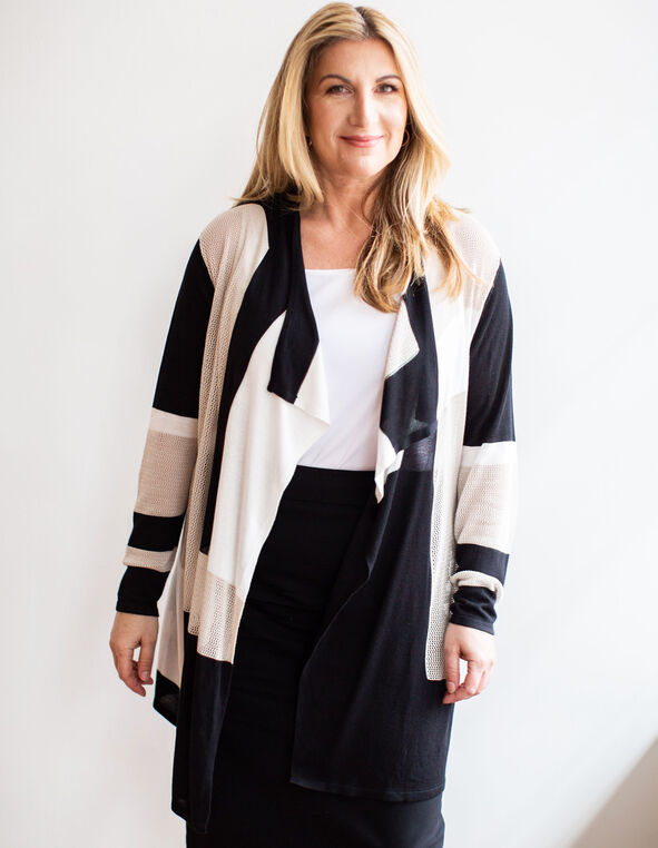 Brown Striped Open Front Cardigan, Neutral, hi-res