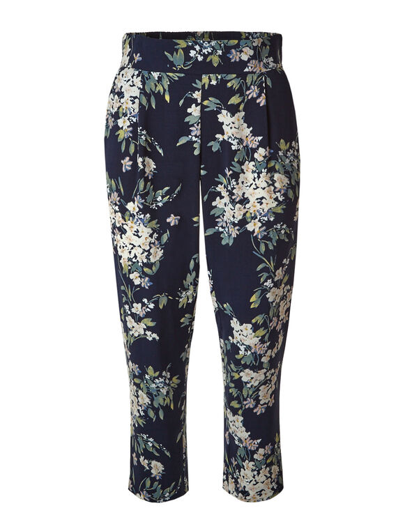 Navy Floral Soft Ankle Pant, Navy, hi-res