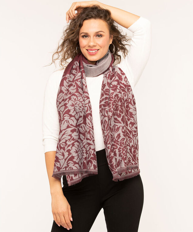 Floral Border Oblong Scarf, Mulberry Mix, hi-res