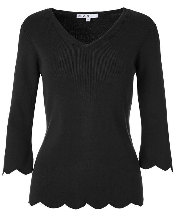 Black Scallop Hem Sweater, Black, hi-res