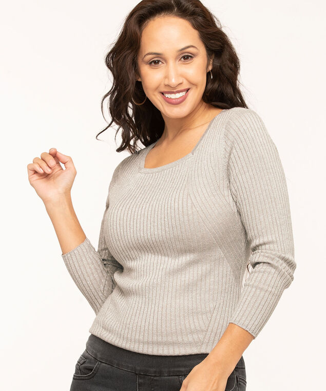 Metallic Square Neck Sweater, Silver