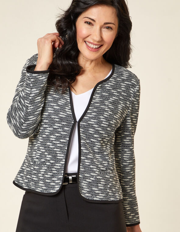 Black Tweed Blazer, Black/White, hi-res
