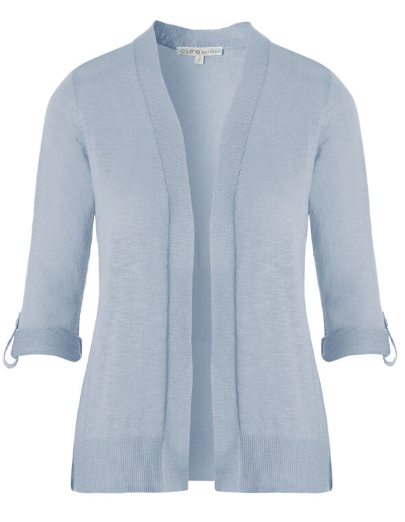 Blue Slub Roll Sleeve Cardigan, New Blue, hi-res