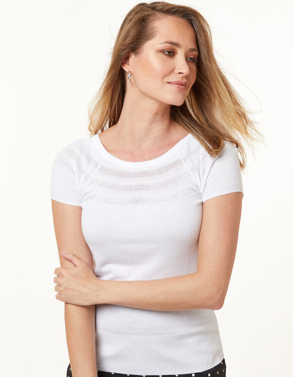 White Pointelle Sweater, White, hi-res