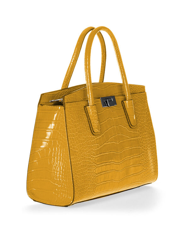 Ochre Croco Handbag, Yellow, hi-res