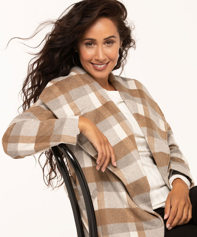 Camel Plaid Wrap Coat, Camel/Ivory/Grey, hi-res