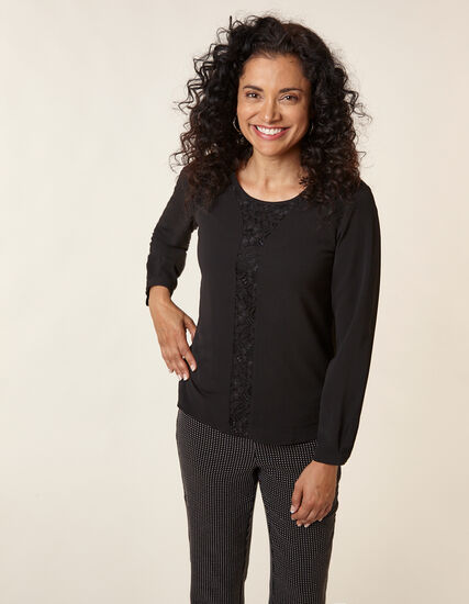 Black Lace Insert Blouse, Black, hi-res