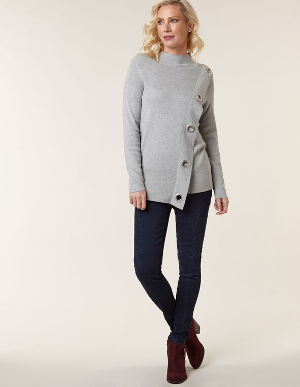 Grey Wrap Styled Sweater, Grey, hi-res
