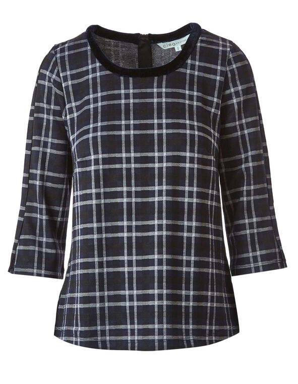 Blue Plaid Velvet Neck Top, Blue, hi-res