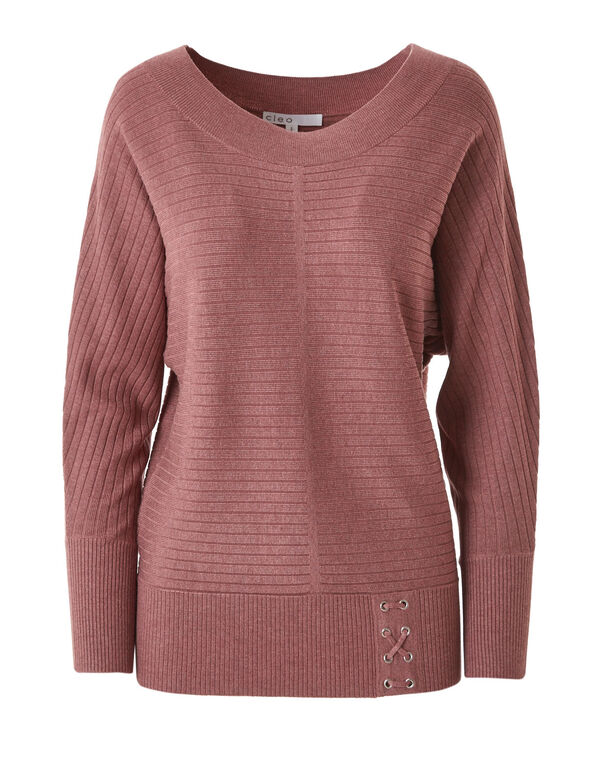 Pink Ribbed Dolman Sweater, Pink, hi-res