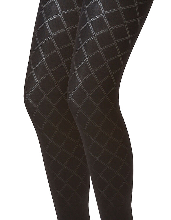 Black Diamond Patterned Tights, Black, hi-res