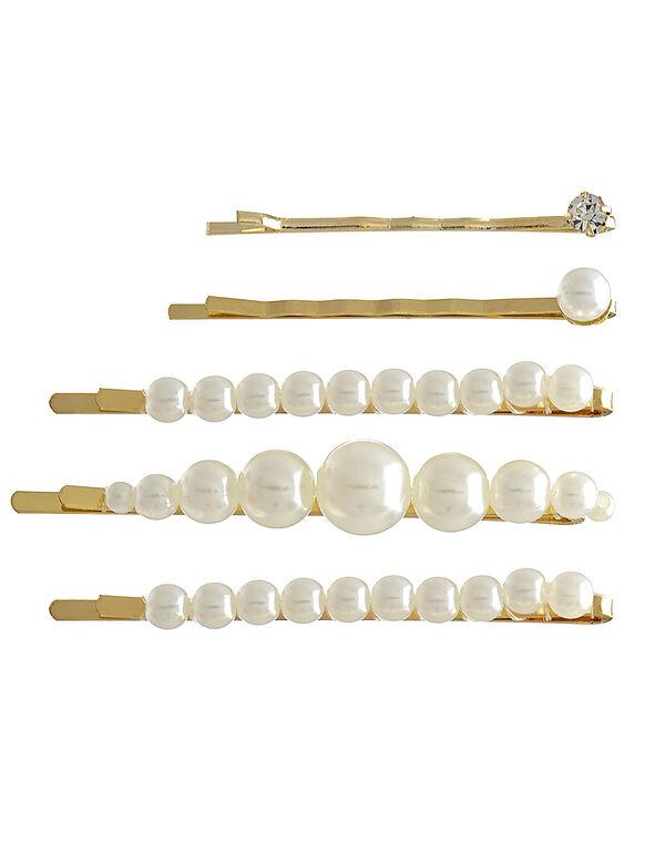 Pearl Detail Hair Pin Set, Gold, hi-res