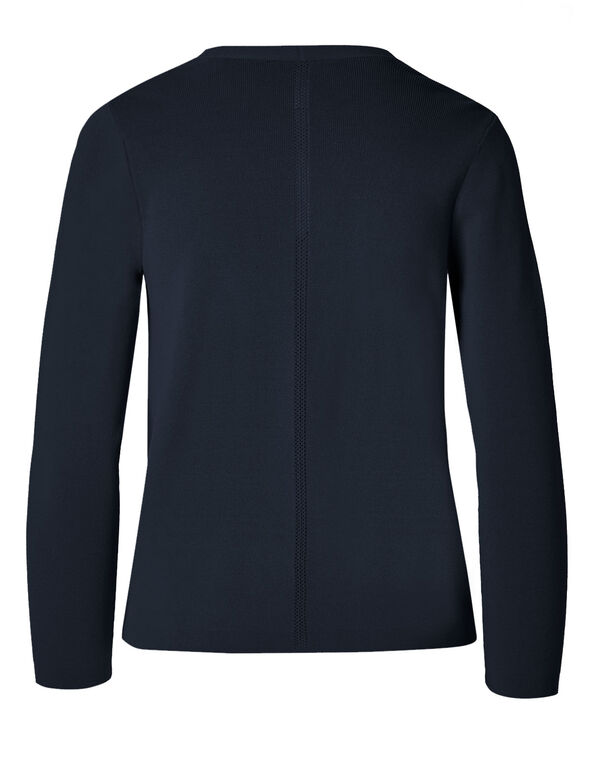 Navy Crepe Cardigan, Navy, hi-res