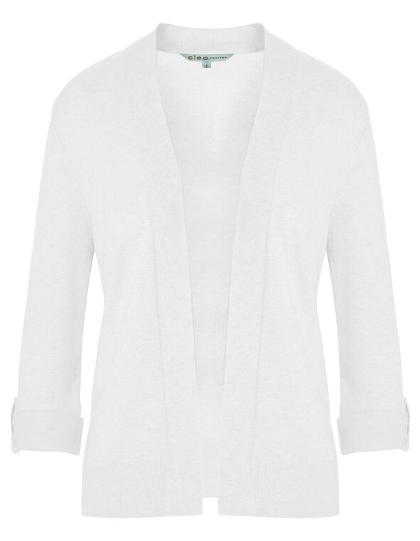 White Mid Length Roll Cardigan, White, hi-res