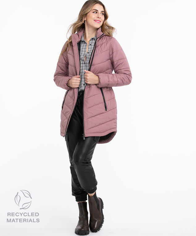 Recycled Curved Hem Coat, Dusty Purple