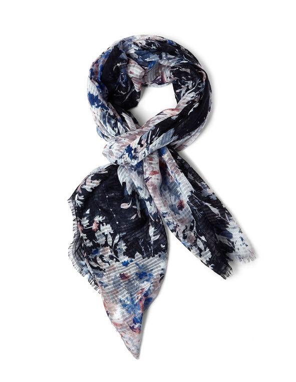 Blue Floral Sequin Detail Scarf, Blue, hi-res