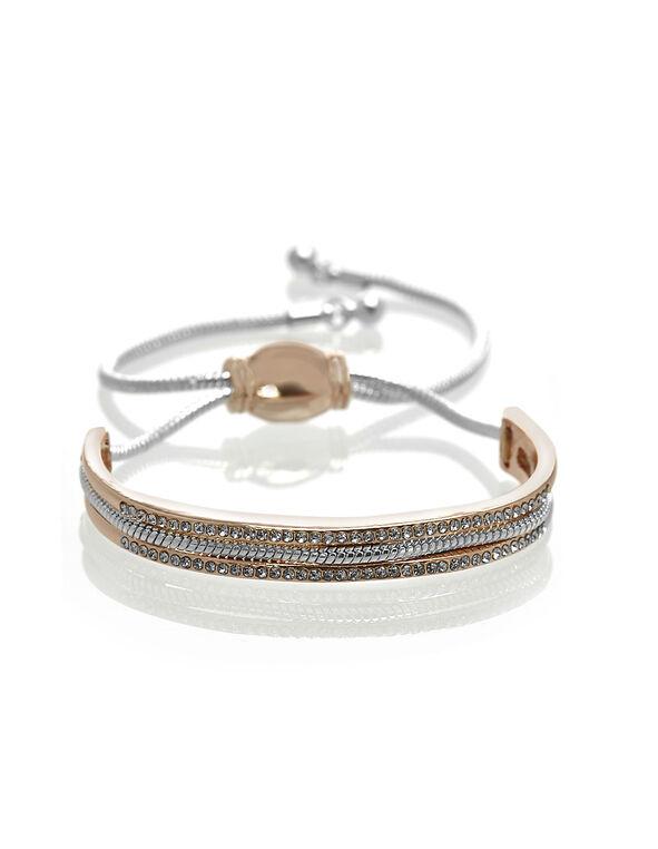 Rose Gold Adjustable Bracelet, Rose Gold/Silver, hi-res