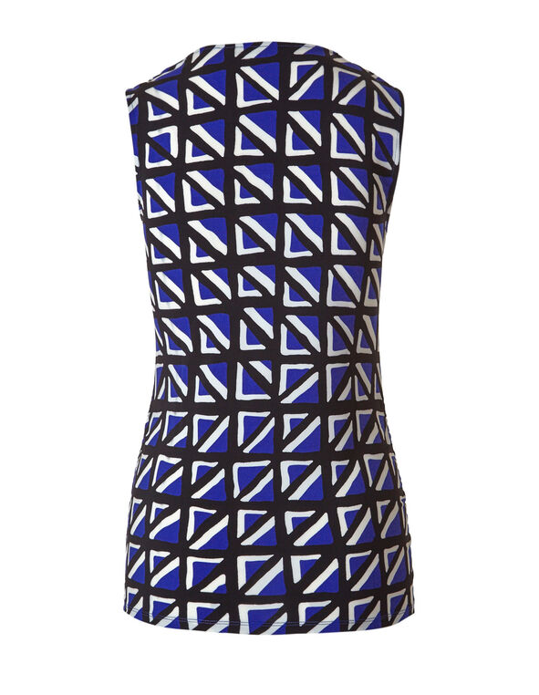 Cobalt Pattern Ruched Top, Cobalt/Black/White, hi-res