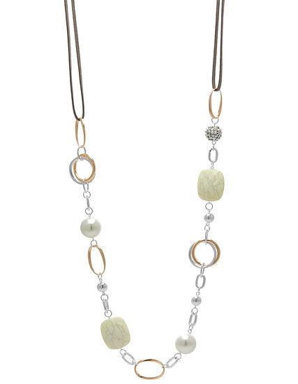 Grey Cord Long Necklace, Silver/Gold, hi-res