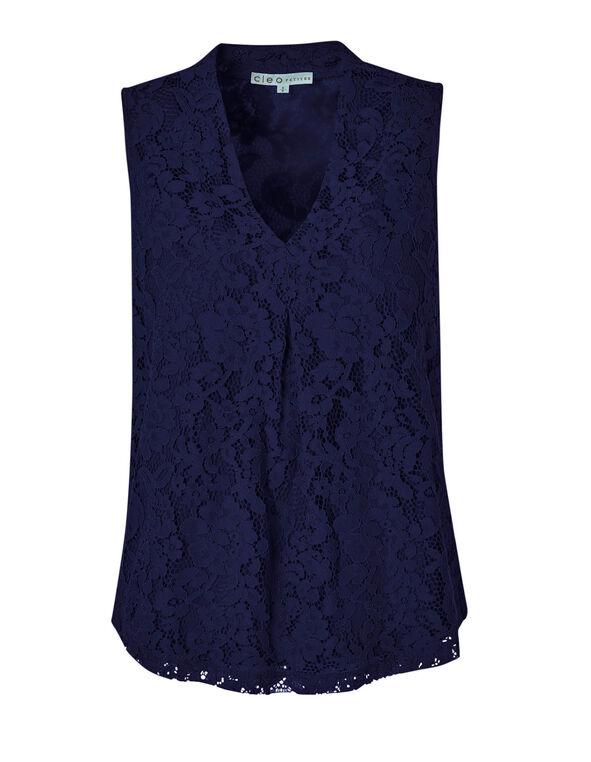 Navy Lace Sleeveless Knit Top, Navy, hi-res
