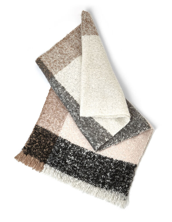 Neutral Tweed Colour Block Scarf, Neutral, hi-res