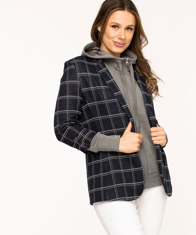 Navy Plaid Open Blazer, Navy Plaid