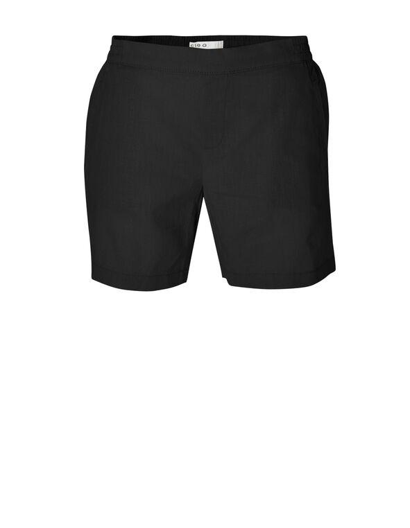 Black Linen Cotton Blend Short, Black, hi-res