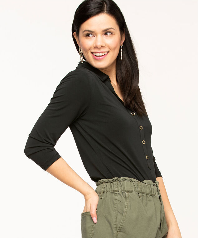 Collared 3/4 Sleeve Popover Top, Black