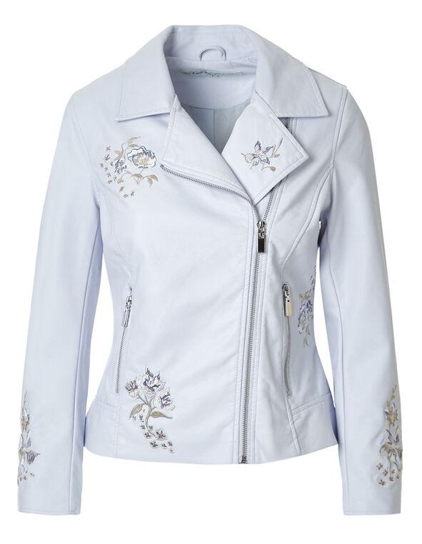 Blue Floral Faux Leather Jacket, New Blue, hi-res