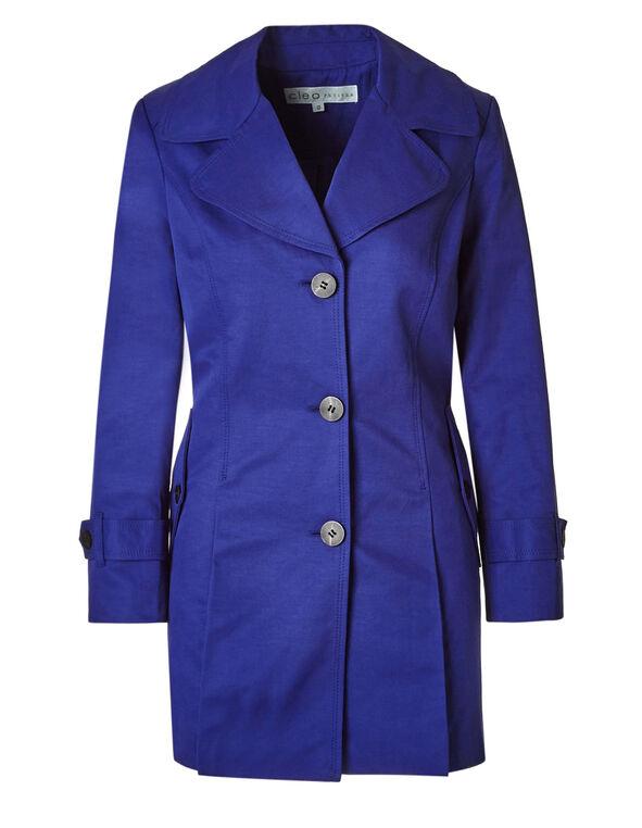 Cobalt Button Front Trench Coat, Cobalt, hi-res