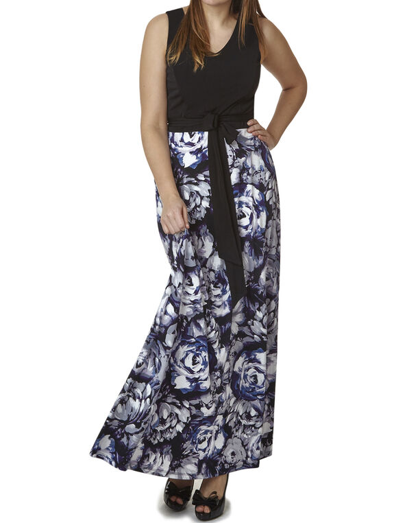Purple Floral Front Tie Maxi, Purple, hi-res