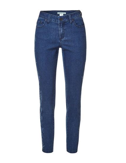 Mid Wash Floral Slim Jean, Mid Wash, hi-res