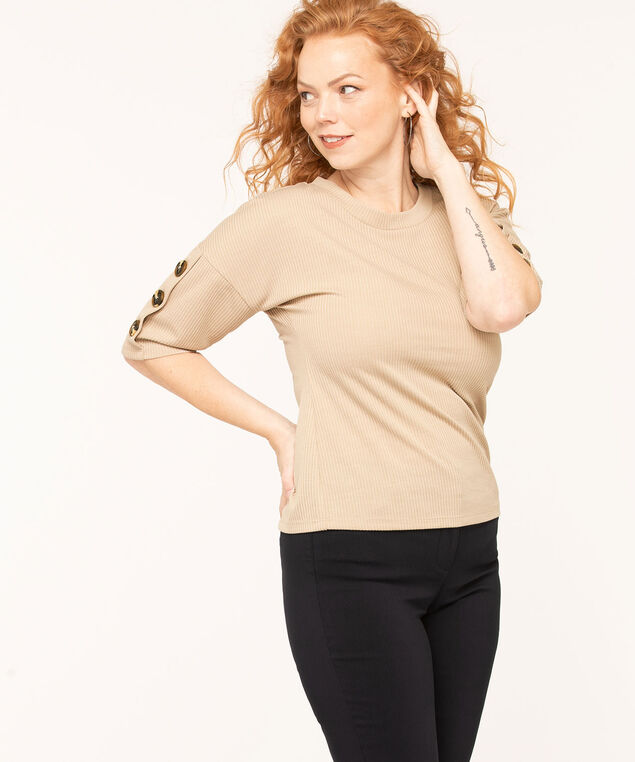 Button Detail Ribbed Knit Top, Tan, hi-res