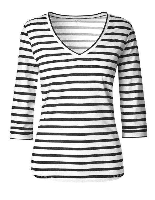 Black Striped 3/4 Cotton Tee, Black/White, hi-res