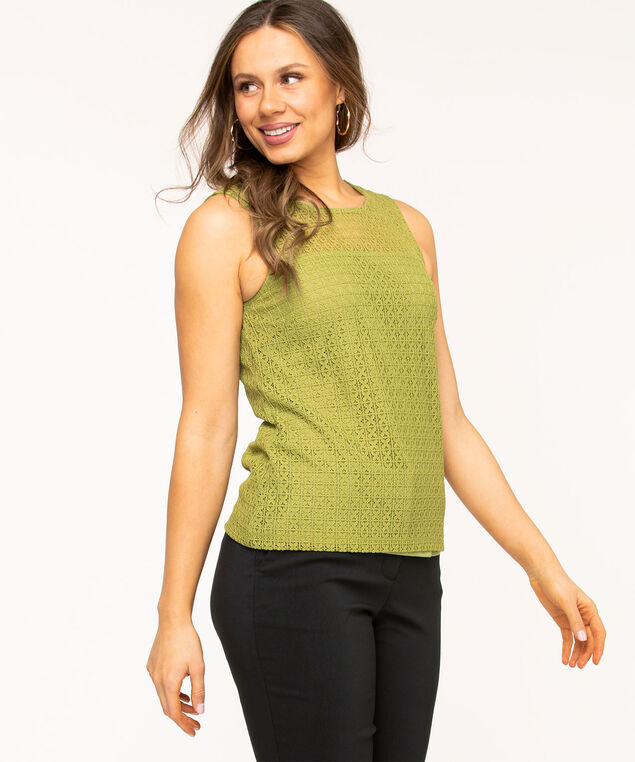 Sleeveless Lace Overlay Top, Avocado